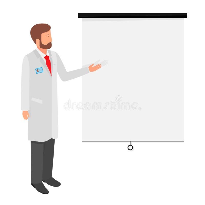 Trabajador médico del ejemplo del vector Demostraciones del hombre en el tablero stock de ilustración