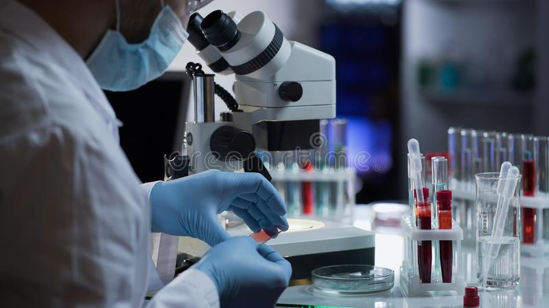 Trabajador médico que hace el análisis de sangre para la detección de anticuerpos y de infecciones fotos de archivo