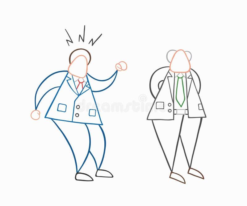 Trabajador a mano del hombre de negocios del vector enojado en el jefe ilustración del vector