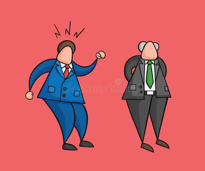Trabajador a mano del hombre de negocios del vector enojado en el jefe stock de ilustración