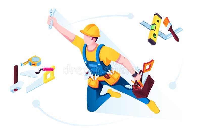 Trabajador o constructor en uniforme con las herramientas del edificio ilustración del vector
