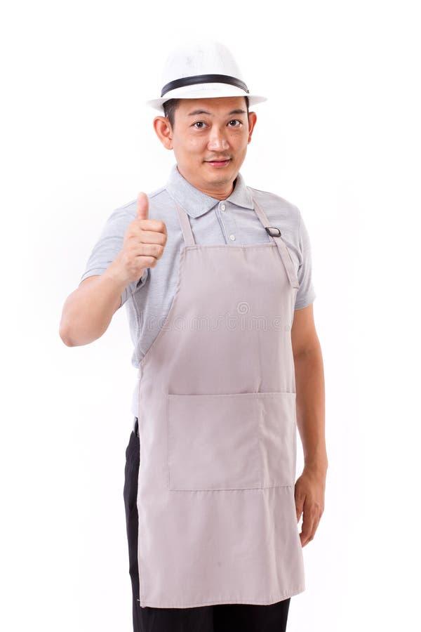 Trabajador, patrón con el pulgar encima del gesto de mano fotos de archivo libres de regalías