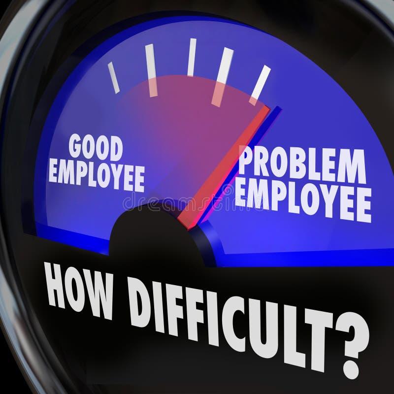 Trabajador Person Gauge difícil del nivel del empleado de problema buen stock de ilustración