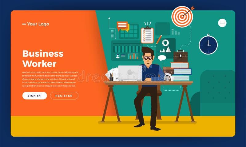 Trabajador plano de las horas de trabajo del concepto de diseño del sitio web del diseño de la maqueta libre illustration