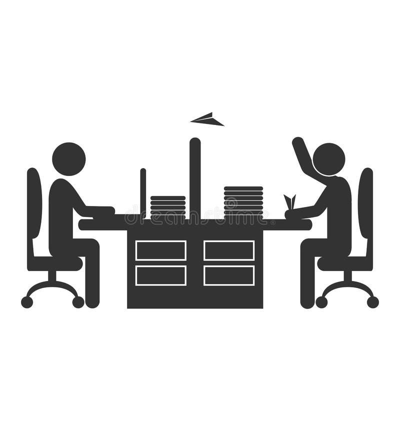 Trabajador plano del icono de la oficina con el avión de papel aislado en blanco ilustración del vector