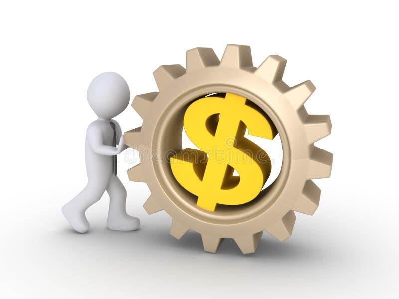 Trabajador que empuja la rueda dentada del dólar ilustración del vector
