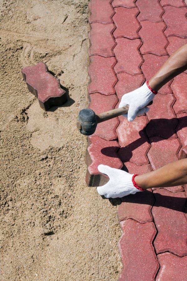 Trabajador que pone bloques de pavimentación concretos rojos. fotografía de archivo libre de regalías