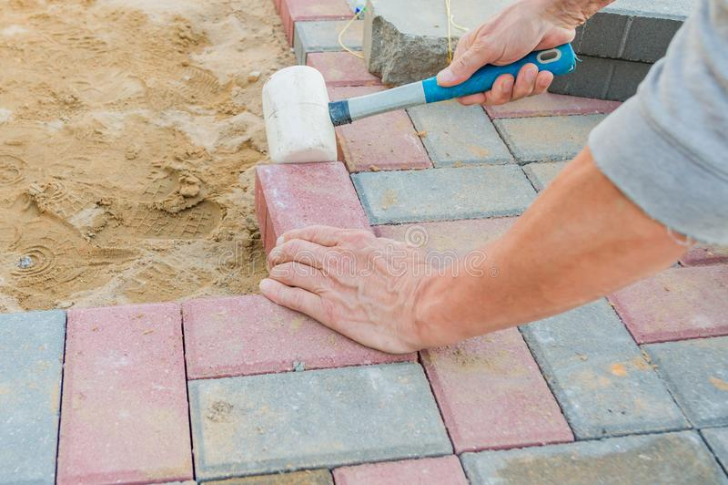 Trabajador que pone bloques de pavimentación concretos rojos y grises Camino que pavimenta, construcci?n imágenes de archivo libres de regalías