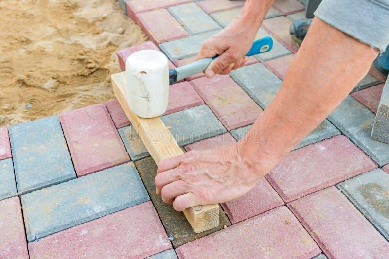 Trabajador que pone bloques de pavimentación concretos rojos y grises Camino que pavimenta, construcci?n fotografía de archivo libre de regalías