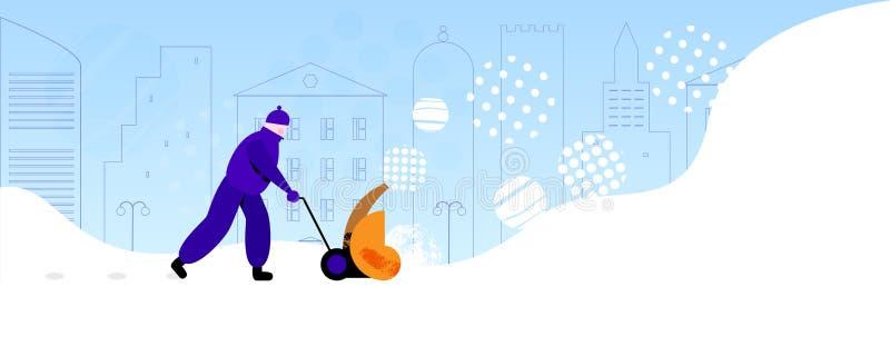 Trabajador que quita nieve en la calle de la ciudad libre illustration