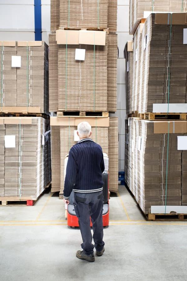 Trabajador que se coloca en Front Of Stockpiles imagen de archivo libre de regalías