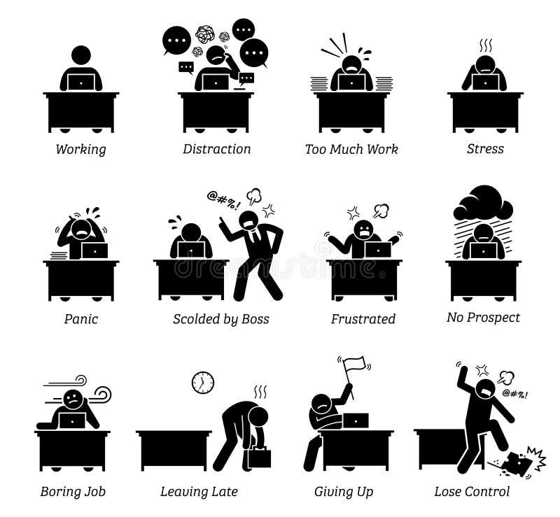 Trabajador que trabaja en un lugar de trabajo muy agotador de la oficina stock de ilustración