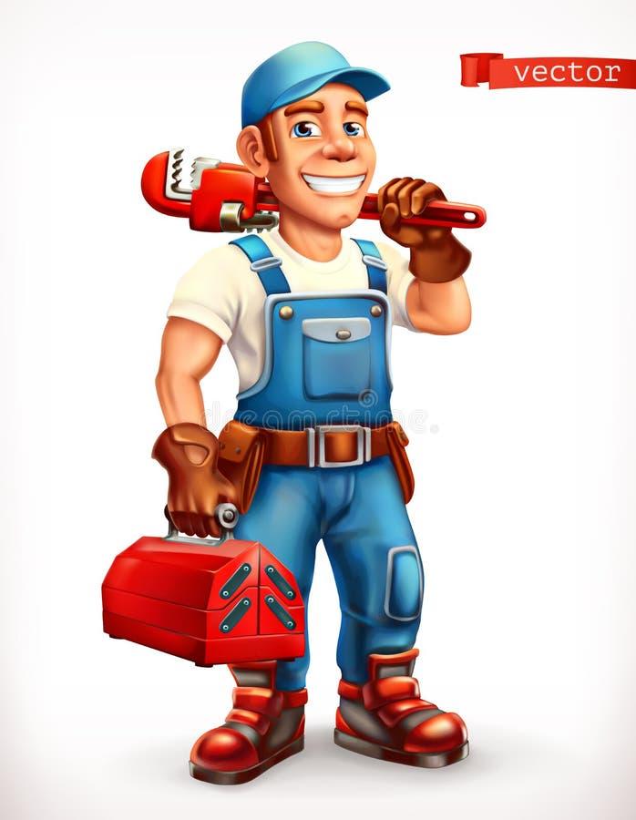 Trabajador Reparador, carácter alegre icono del vector 3d ilustración del vector