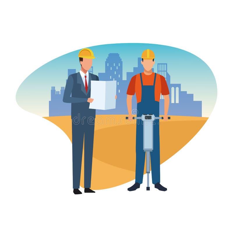 Trabajador y arquitecto de construcción ilustración del vector