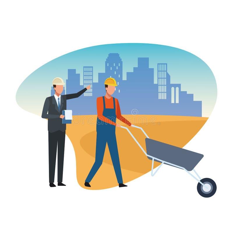 Trabajador y arquitecto de construcción libre illustration