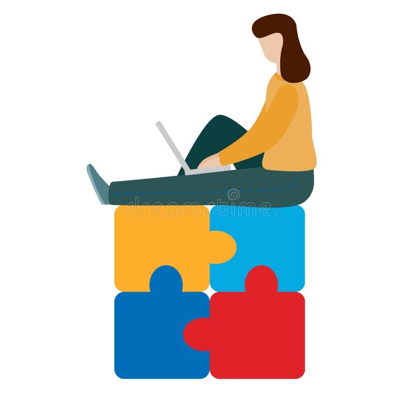 Trabajadora del concepto que se sienta con un ordenador portátil Concepto social de la red Trabajo remoto independiente ilustración del vector