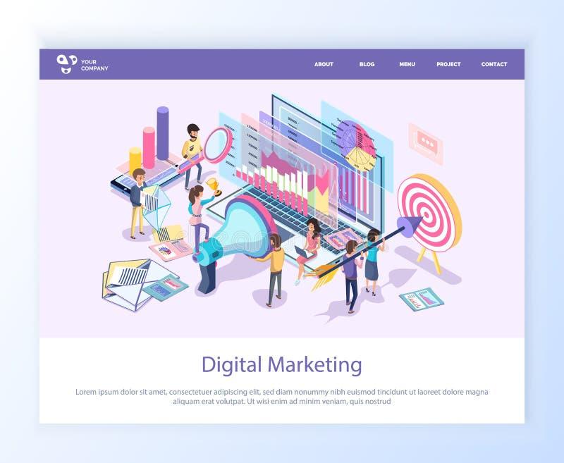 Trabajadores de comercialización de Digitaces con página web del megáfono ilustración del vector