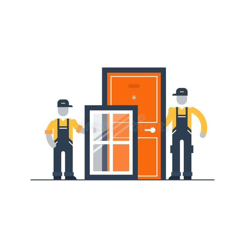 Trabajadores De Construcción Con El Marco Y La Puerta De Ventana ...
