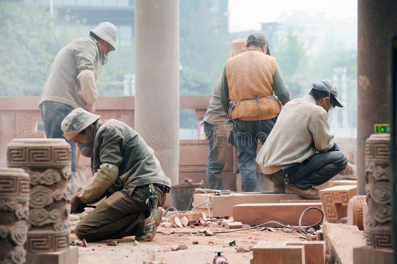 Trabajadores de construcción en Chengdu foto de archivo libre de regalías