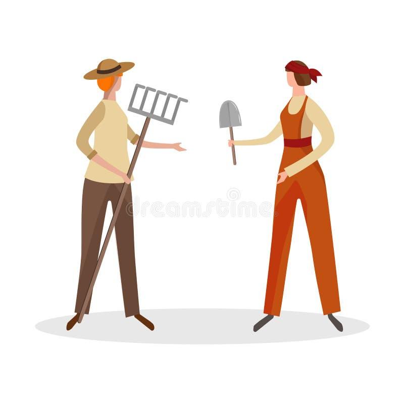 Trabajadores de granja de las mujeres aislados en el fondo blanco ilustración del vector