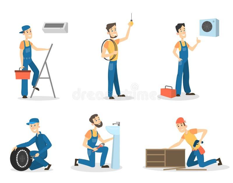 Trabajadores de los hombres fijados stock de ilustración