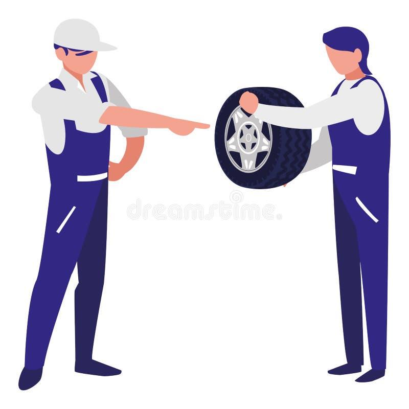 Trabajadores de los mecánicos con los caracteres del coche del neumático libre illustration