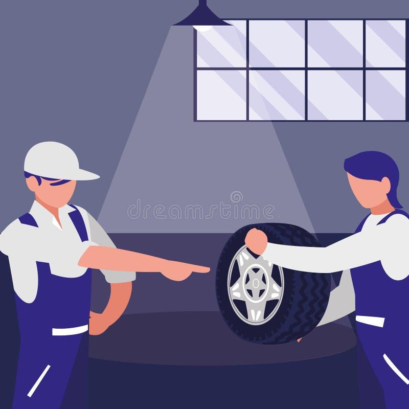 Trabajadores de los mecánicos con los caracteres del coche del neumático ilustración del vector