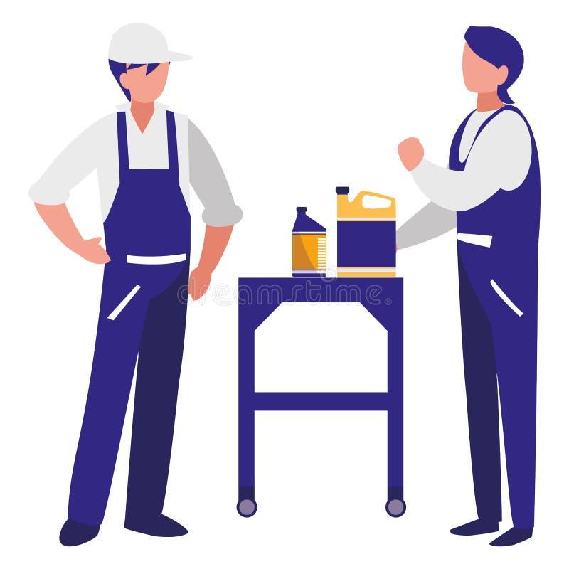 Trabajadores de los mecánicos con los caracteres del galón del aceite libre illustration