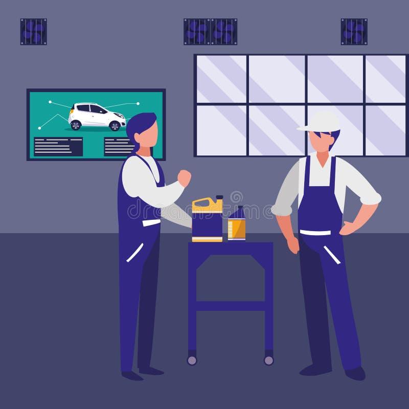 Trabajadores de los mecánicos con los caracteres del galón del aceite ilustración del vector
