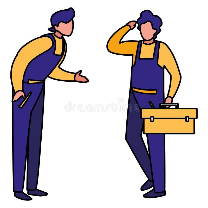 Trabajadores de los mecánicos con los caracteres de la caja de herramientas ilustración del vector