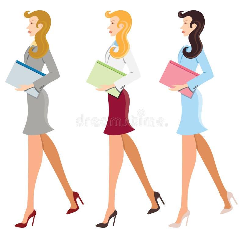 Trabajadores de sexo femenino ilustrados ilustración del vector
