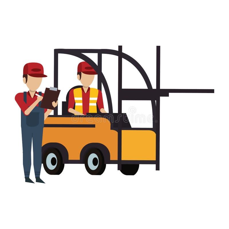 Trabajadores de Warehouse con mercancía stock de ilustración