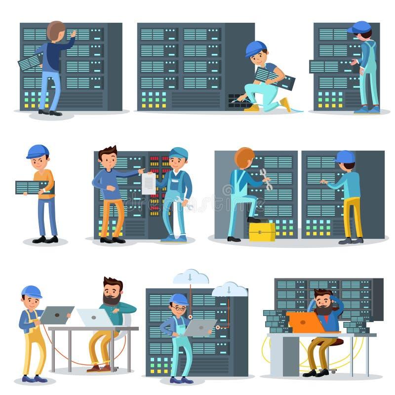 Trabajadores del centro de datos fijados stock de ilustración