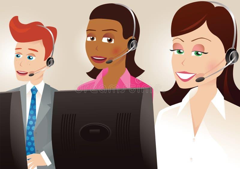 Trabajadores del centro de llamada stock de ilustración
