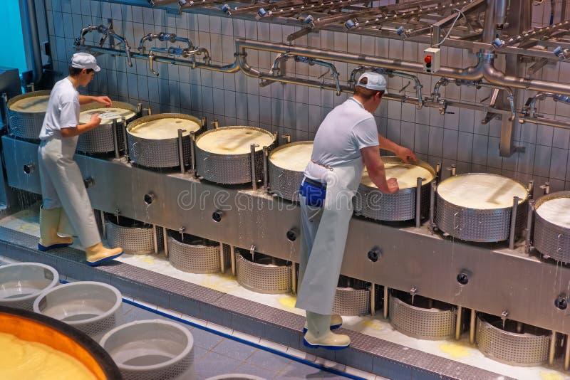 Trabajadores durante el proceso de la producción de queso gruyere en el th imagenes de archivo