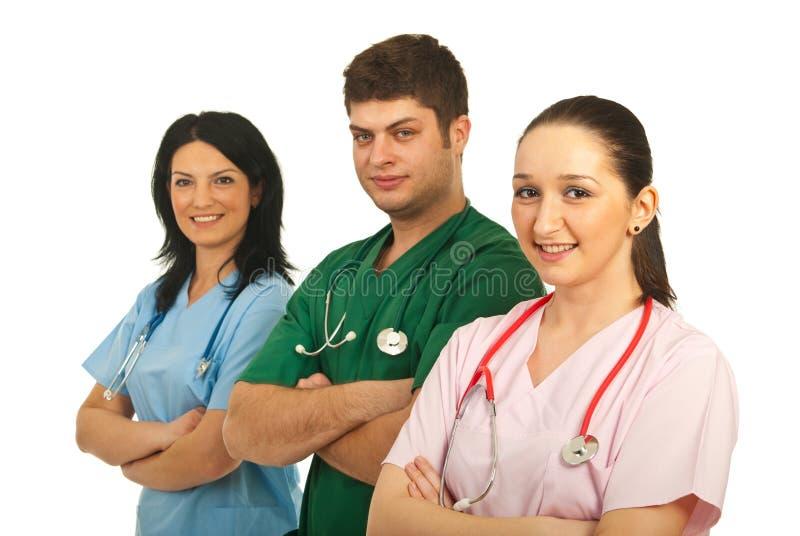 Trabajadores felices del hospital fotos de archivo