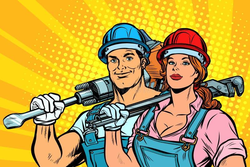 Trabajadores, hombre y mujer fuertes Día del Trabajo igualdad libre illustration