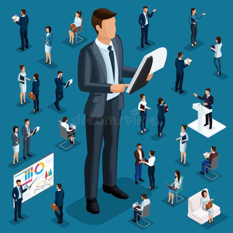Trabajadores isométricos del director grande de la gente, de los hombres de negocios 3d pequeños y del subordinado detalles de di ilustración del vector