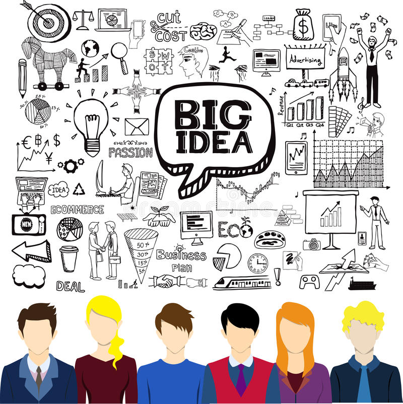 Trabajadores planos de los avatares con garabatos del negocio Inspirándose, idea grande, creatividad, concepto del trabajo en equ ilustración del vector