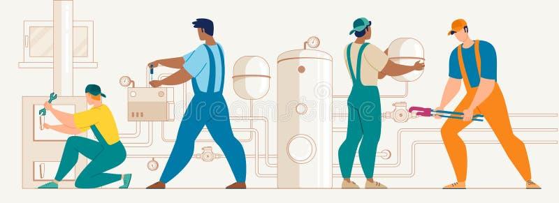 Trabajadores que instalan vector del sistema de calefacción de la casa ilustración del vector
