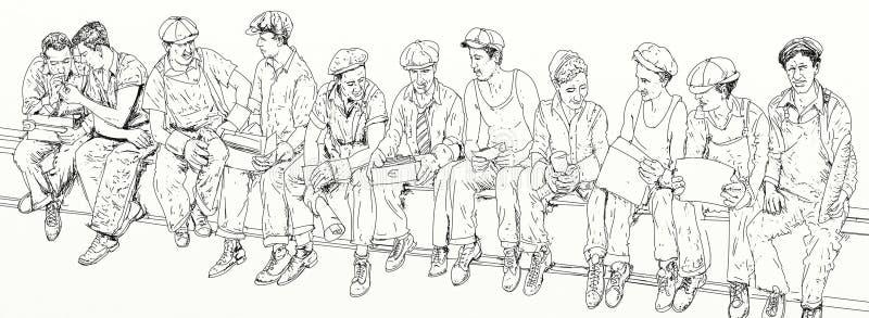 Trabajadores que se detienen brevemente en un haz del bote libre illustration
