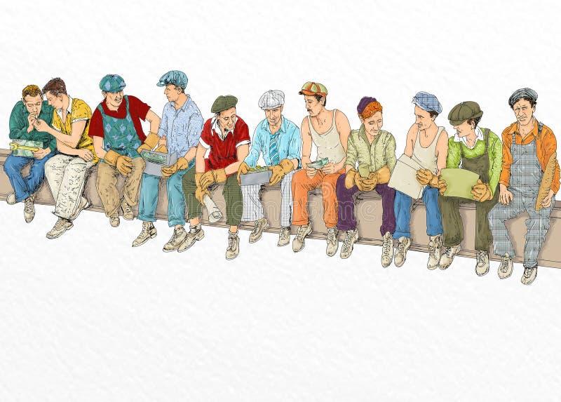 Trabajadores que se detienen brevemente en un haz del bote ilustración del vector
