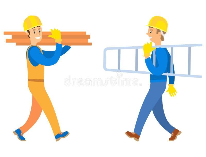 Trabajadores que sostienen los registros y las escaleras, vector constructivo libre illustration