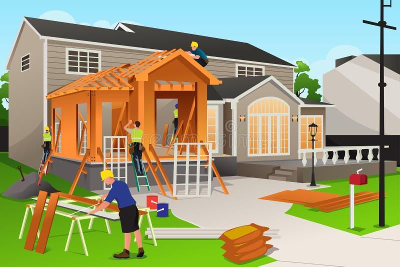 Trabajadores que trabajan en la renovación casera libre illustration