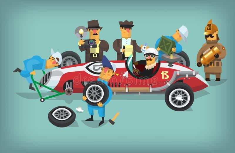 Trabajadores retros del pitstop chequing el coche de competición libre illustration