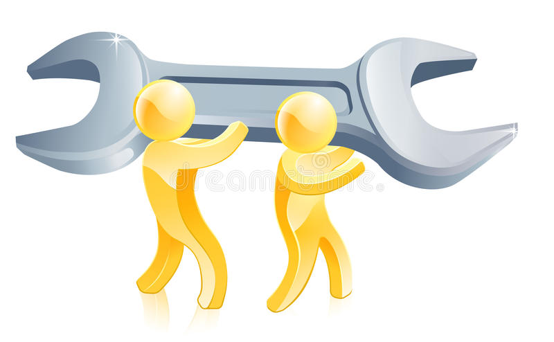 Trabajadores y llave inglesa gigante ilustración del vector