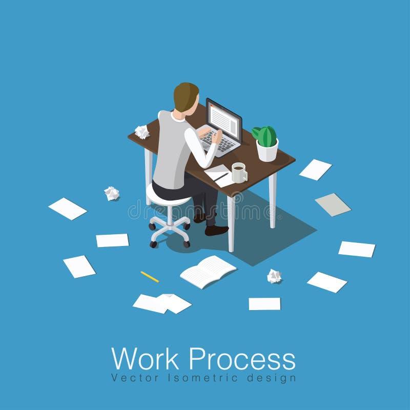Trabajando y estudiando concepto stock de ilustración