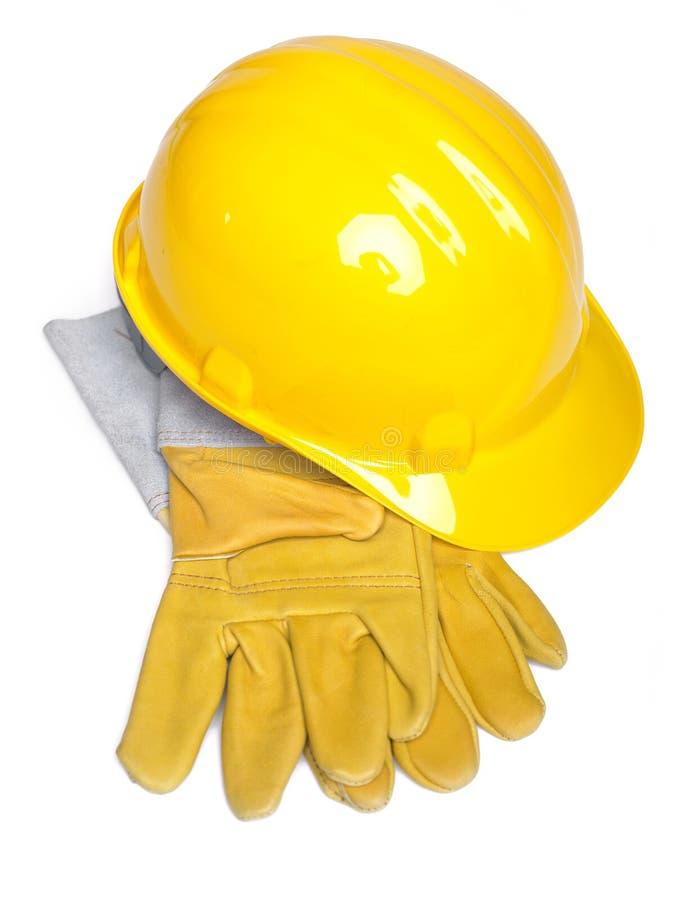 Trabaje el casco y los glowes del sombrero duro del sombrero duro del equipo fotografía de archivo libre de regalías