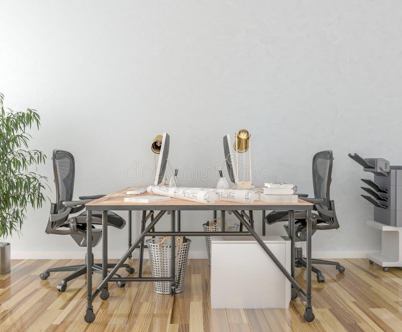 Trabaje el escritorio en sitio vacío con la pared grande en fondo ilustración del vector