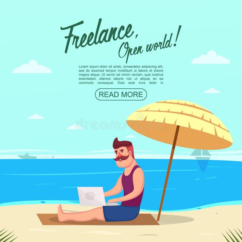 Trabaje independientemente en concepto de la playa stock de ilustración